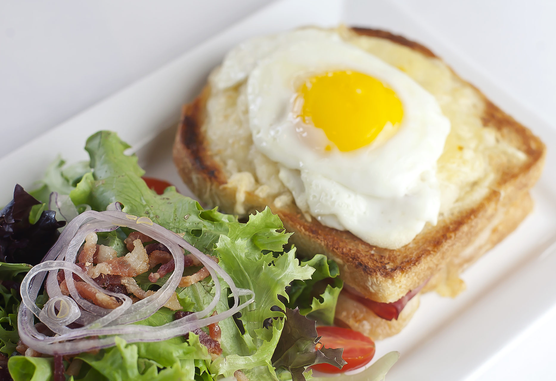 Croque Monsieur with egg and Anjou salad